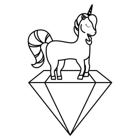 Cute unicorn and diamond over white background, vector illustration