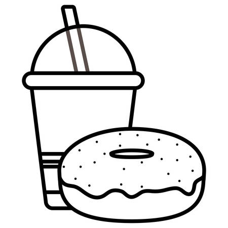 plastic cup with straw and donut vector illustration design