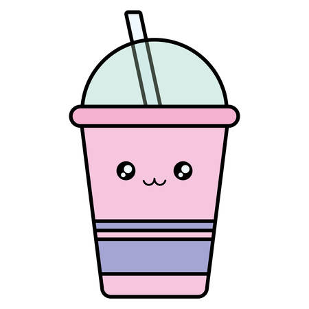 plastic cup with straw kawaii character vector illustration design