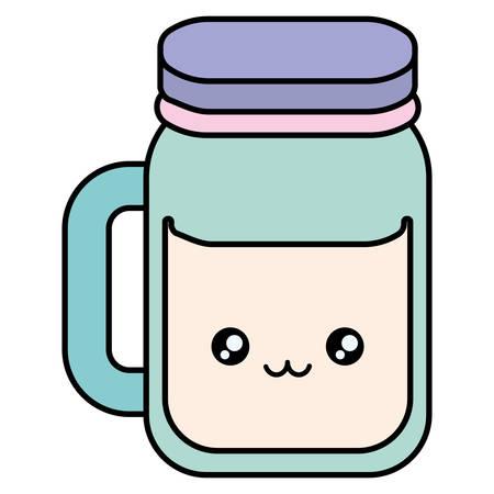 cute beverage jar kawaii character vector illustration design 矢量图像