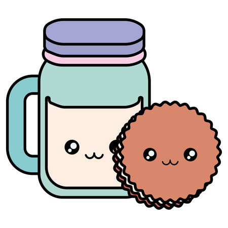 cute beverage jar with cookies kawaii characters vector illustration design