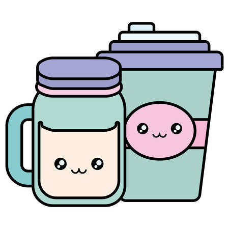 plastic cup container and jar kawaii characters vector illustration design Stock Illustratie