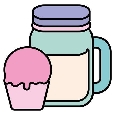 cute beverage jar with cupcake vector illustration design 矢量图像