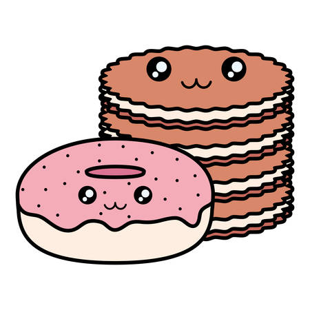 sweet donuts and cookies kawaii characters vector illustration design Stock Illustratie