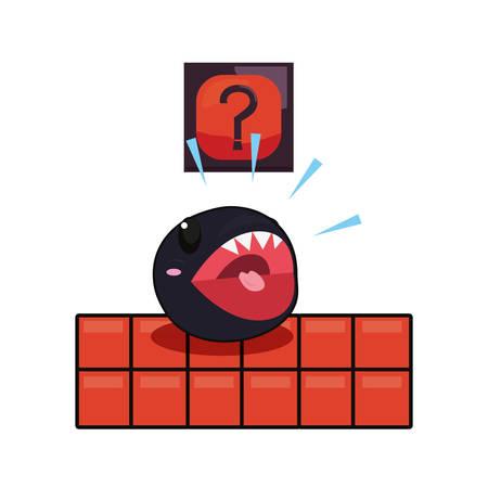 video game monster bricks mysterious box vector illustration