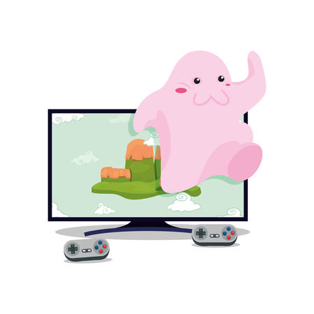 cute doll television video game vector illustration Vectores