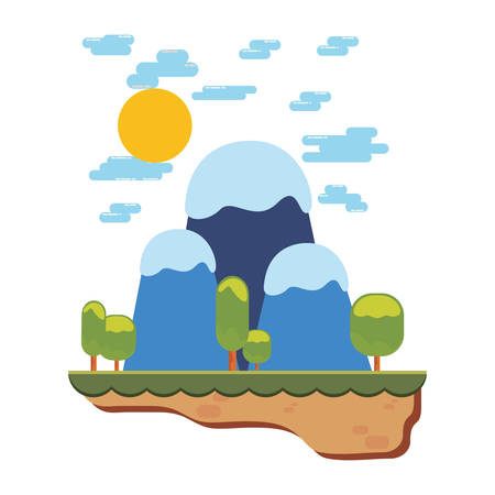 video game base level sunny day mountains vector illustration