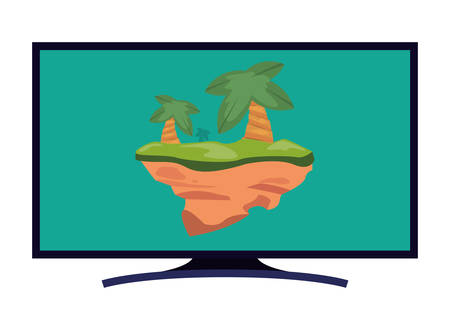 technology video game television screen palms vector illustration