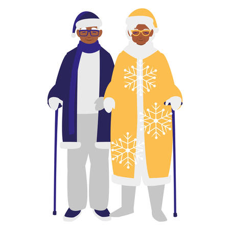 cute grandparents couple with winter clothes vector illustration design