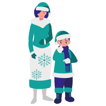 cute mother and son with winter clothes vector illustration design