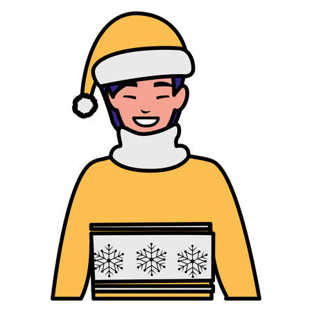 young man with winter clothes vector illustration design 向量圖像