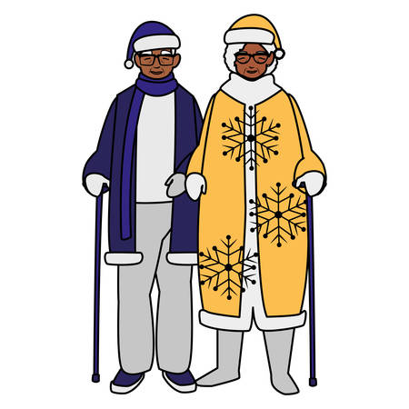 black grandparents couple with winter clothes vector illustration design