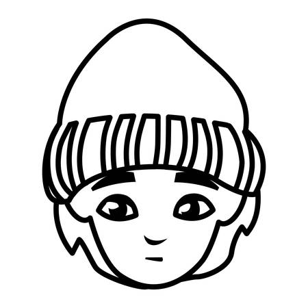 young man head with winter hat vector illustration design Illustration