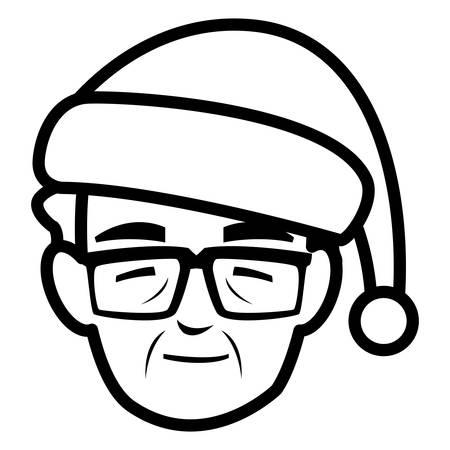 cute grandfather head with winter hat vector illustration design Illustration