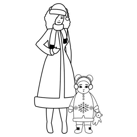cute mother and daughter with winter clothes vector illustration design