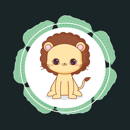 cute lion with leafs vector illustration design