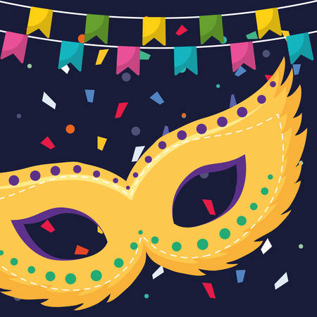 carnival mask accessory with garlands hanging vector illustration design