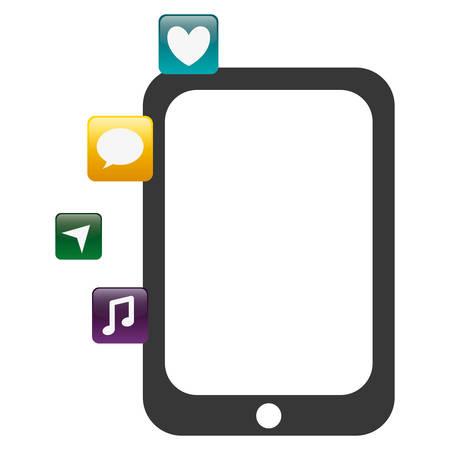 tablet with applications menu vector illustration design