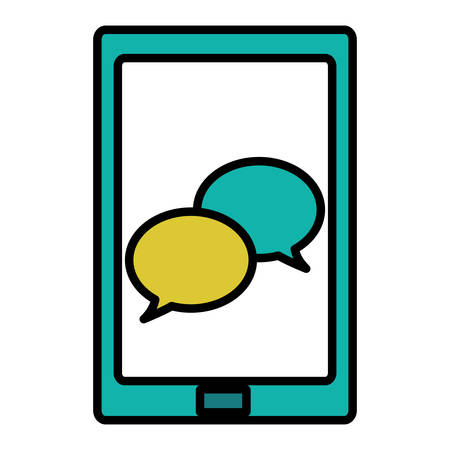 tablet with app chat vector illustration design