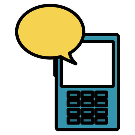 cellphone device with speech bubble vector illustration design