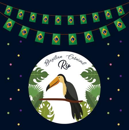brazilian toucan traditional bird vector illustration design 일러스트