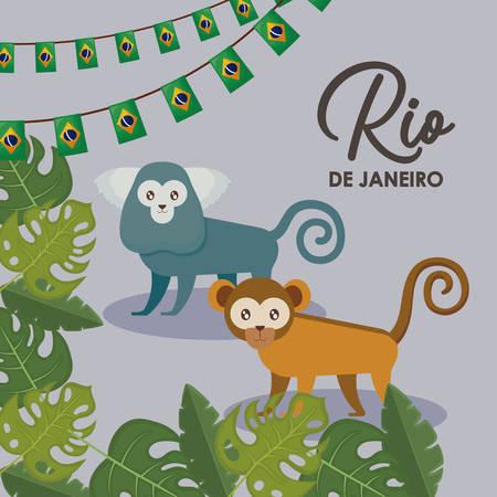 Brazilian traditional monkey icon vector illustration design