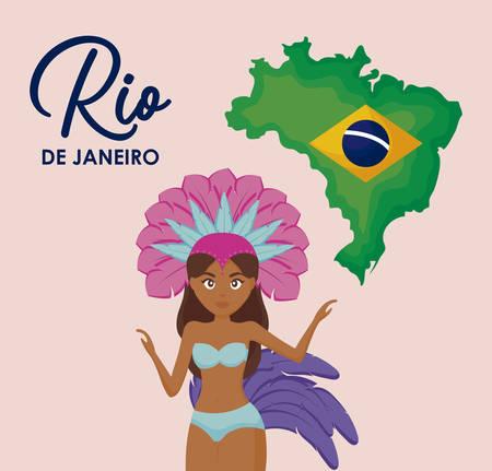 brazilian culture set icons vector illustration design