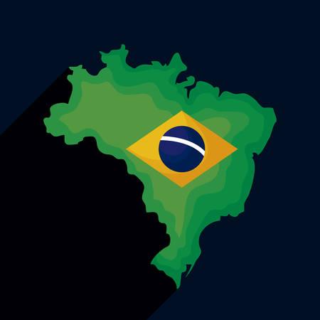 brazil map with flag vector illustration design Vetores