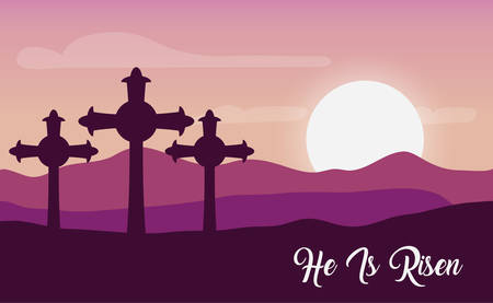 monte calvario scene with he is risen phrase vector illustration design