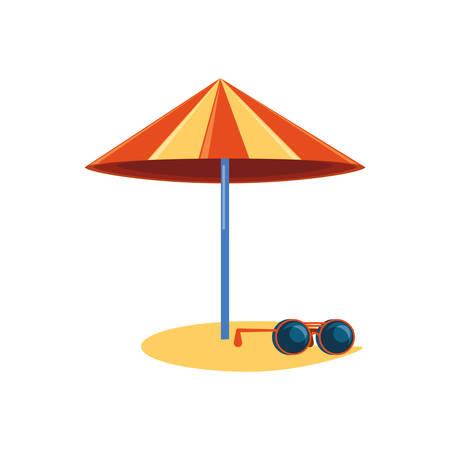 beach umbrella with sunglasses vector illustration design