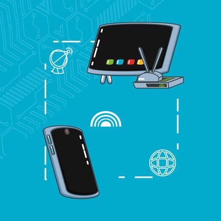 communication technology set gadgets vector illustration design Illustration