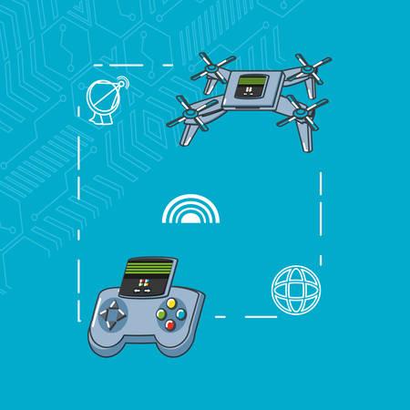 drone technology set gadgets vector illustration design Illustration