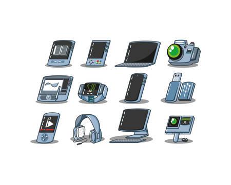 equipment technology set gadgets vector illustration design Ilustração