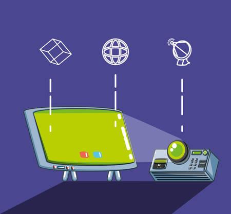 computer technology set gadgets vector illustration design