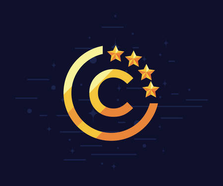 stars emblem copyright protection of intellectual vector illustration