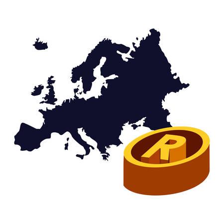 map european union copyright of intellectual vector illustration Illustration