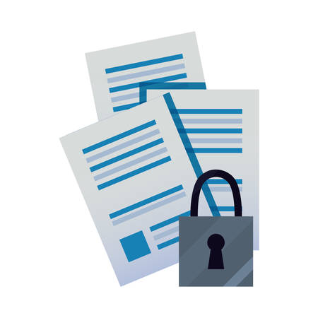 document file papers data security vector illustration