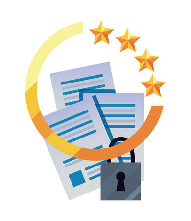 patent contract data security copyright vector illustration