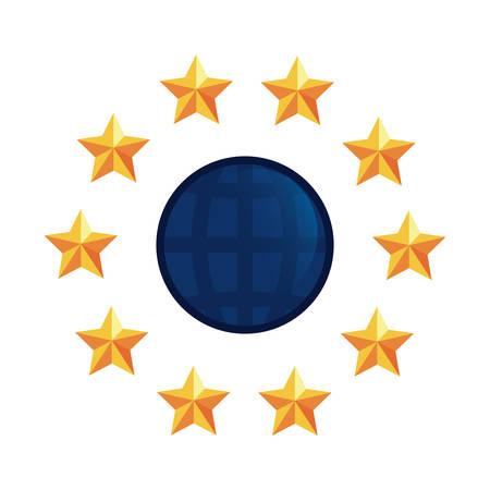 world stars around emblem copyright vector illustration Stock Illustratie