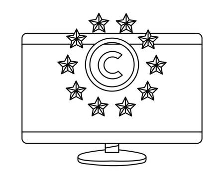 computer digital protection copyright symbol vector illustration