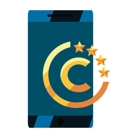 cellphone copyright of intellectual on white background vector illustration