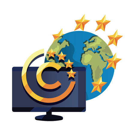 computer world copyright of intellectual vector illustration