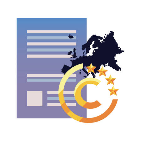 european union contract copyright of intellectual vector illustration