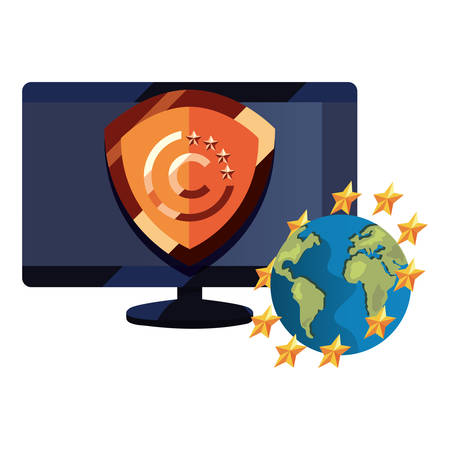 computer world security copyright of intellectual vector illustration  イラスト・ベクター素材
