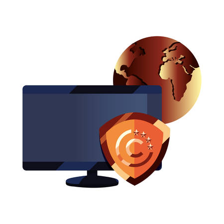 computer shield protection world copyright of intellectual vector illustration
