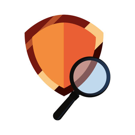 shield protection magnifying glass copyright of intellectual vector illustration
