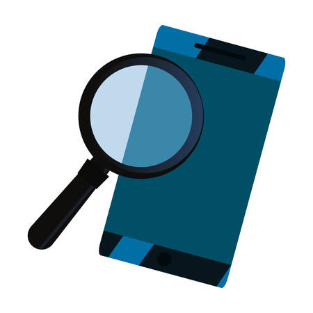 cellphone magnifying glass copyright of intellectual vector illustration