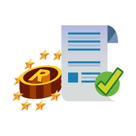 paper registered checkmark copyright of intellectual vector illustration