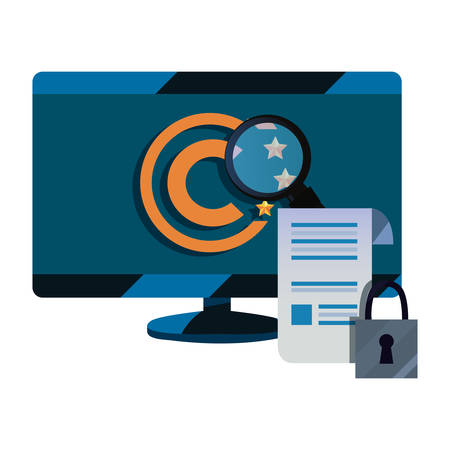 computer paper security data copyright of intellectual vector illustration