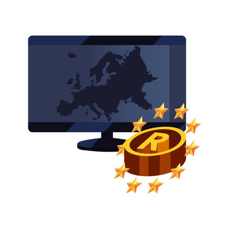 computer registered insignia copyright of intellectual vector illustration